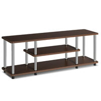 3-Tier TV Stand Stainless Steel EPA Listed Universal Withstand 110lbs Brown