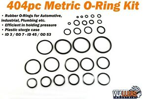 404pc rubber metric o-ring kit with 30 sizes ID 3 / OD 7 - ID 45 / OD 53