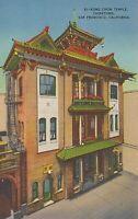 Linen Postcard ca1940s A453 Kong Chow Temple Chinatown San Francisco California