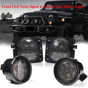 Front LED Turn Signal Side Marker Fender Lights Smoked Lens for Jeep Wrangler JK