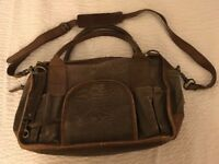 """United by Blue Laptop BagBriefcase Khaki Canvas Brown Leather 15"""" x 10"""" x 8"""""""