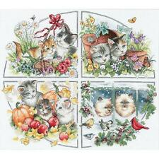Counted Cross Stitch Kit FOUR SEASONS KITTENS Dimensions Gold Collection