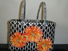 Plastic Woven Tote Bag (Bayong) - Black/white Large Made in Myanmar