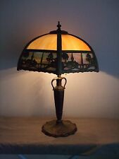 ANTIQUE CURVED SLAG GLASS TABLE LAMP ~ METAL LANDSCAPE SCENE