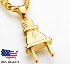 New Gold Tone Metal Plug Iced Out Lightning Necklace Chain  USA SELLER