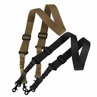 Tactical 2 Two Double Point Adjustable Bungee Hook Rifle Gun Sling System Strap