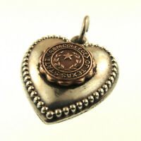 1940s Puffy Heart Charm Texas A&M Sterling Gold State College VTG Engraved Bob