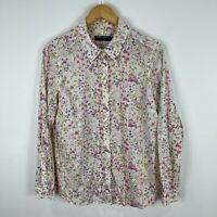 Sportscraft Liberty Womens Top 14 White Floral Long Sleeve Collared