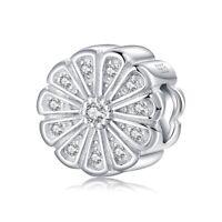 Round shape flower 925 Sterling Silver bead Pandora Charm Bracelet Jewelry