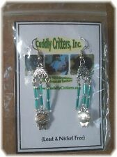 Tibetan Silver Standing Pig  Blue Dangle Earrings Made in the USA -boar/hog