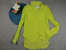 AEROPOSTALE WOMEN'S BUTTON FRONT ROLL OVER SLEEVE SHEER BLOUSE TOP MEDIUM RR64