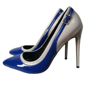 Ladies Womens High Heel Stiletto Court Pumps Pointy Toe Pu Leather Shoes 44-47 L