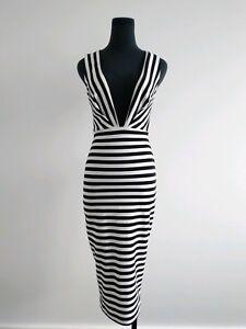 Bec & Bridge Seven Wonder Deep V Black White Stripes Pencil midi Dress AU 6 XS