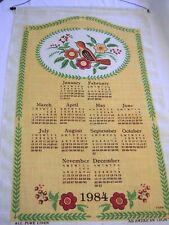 NEW VINTAGE 1984 PENN DUTCH FLOWERS BIRD TYPE PRINT LINEN CALENDAR TOWEL