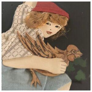 Antique Vintage 1920 Fabric Collage Jack & The Beanstalk- Sensational!