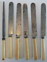Antique J Russell Green River Works Bone Handle Dinner Knives & Sharpener 1800s