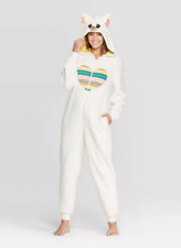 Womens' M/L One Piece Hooded Pajama Adult Llama Sherpa Union Suit Zip Nwt