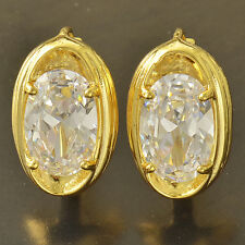 fashion 9K Yellow Gold Filled clear rhinestone  Womens statement Hoop Earrings