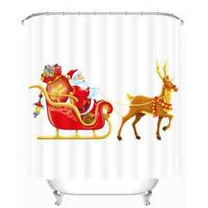 Santa In A Nice Deer Car 3D Shower Curtain Polyester Bathroom Decor  Waterproof