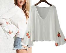 Maglia Manica Larga Ricamata Donna Woman Long Large Sleeve T-shirt 561048 P