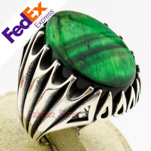 Natural Green Tiger's Eye Stone 925 Sterling Silver Turkish Men's Ring All Sizes