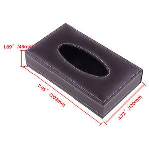 Brown Acrylic Tissue Box Cover Rectangular Dispenser Holder Leather