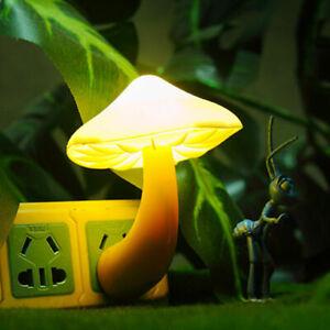 US 1PCs Colorful Mushroom LED Night Light Sensor Control Home Bedside Wall Lamp