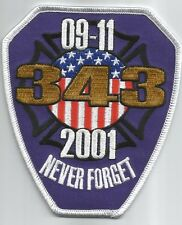 """NYC - Tribute - NEVER FORGET  9-11-2001  (4"""" x 4.5"""" size) fire patch"""