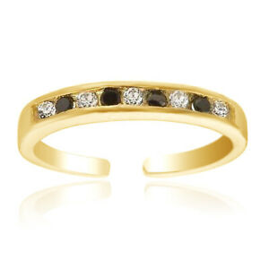 Black & White Cubic Zirconia Toe Ring 14K Yellow Gold Over Silver