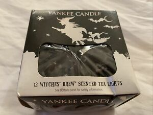 Vtg Yankee Candle WITCHES BREW Box of 12 Scented Tealights Tea Light Black Broom