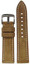 Watch Band with White Stitching 115/75 20mm Rios1931 for Panatime Khaki Velours