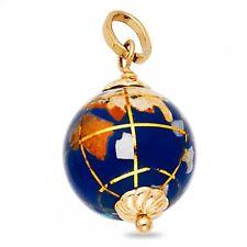 Solid 14k Yellow Gold Globe Pendant Earth Charm Polished Ball Enamel Fancy