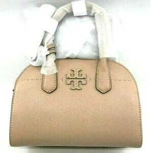 Tory Burch NEW McGraw Small Devon Sand Pebbled Leather Zip Strap Satchel $448