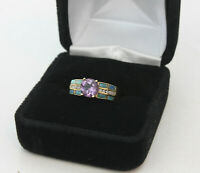 14k Yellow Gold Ring With Amethyst Faceted Stone 4 Gram Estate Jewelry Sz 6-1/4