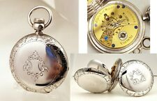 18s Hunter Case Key Wind Serviced Fantastic Elgin Pocket Watch Coin Silver