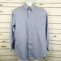 Peter Millar Blue Stripe Button Shirt Cotton Casual Mens Size M