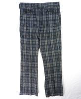Vintage 70s Mod Sketchy Plaid Woven Polyester Disco Pants 34 W x 30 L Flare Leg