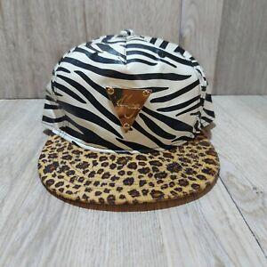 Zebra Print Hater Snapback Ball Cap With Leopard Print Brim