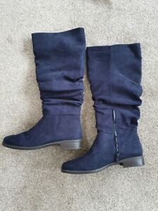 *** BRAND NEW NAVY BLUE KNEE HIGH GRACELAND LADIES BOOTS - SIZE 5.5 EURO 39 ***