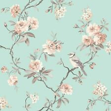 CHINOISERIE BIRDS WALLPAPER - TEAL - FD40768 - FINE DECOR GREEN ROOM