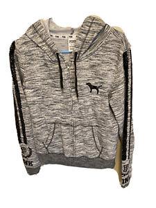 Victorias Secret PINK sweatjacket full Zipper Hoodie Gray/Black Sequin LOGO JR M