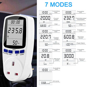 UK Plug Power Meter Energy Monitor Electricity Usage Volt Amps Consumption h