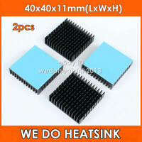 2pcs 40x40x11mm Black Anodized Aluminium Heatsink With Thermal Adhesive Pads