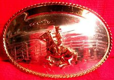 High Quality SOLID STERLING SILVER Front COMSTOCK Cowboy Racing Belt Buckle