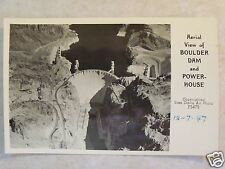 HOOVER BOULDER DAM & POWER-HOUSE AERIAL VIEW REAL STAN DAVIS 1947 PHOTO POSTCARD