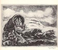 """EUGENE HIGGINS 1939 WPA Book Print """"PIONEERS RESTING"""" Landscape Artwork Sketch"""