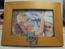 "says BU Baylor University Bears holds a 4x6"" photo light brown Wooden Frame"
