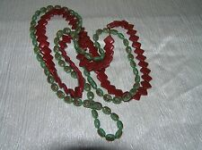 Estate Lot of 2 Holiday Cranberry Red Square Disk & Oval With Gilt Green Plastic