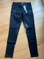 NWT BLACK MOTO MOTORCYCLE JEANS JEGGINGS WITH ZIPPER DETAIL SIZE 27