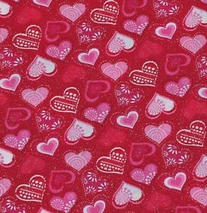 VALENTINES PATTERNED HEARTS RED GLITTER Cotton Fabric by Fabric Traditions  BTY